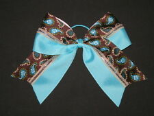 "NEW ""TEAL & MOCHA PAISLEY"" Cheer Bow Pony Tail 3 Inch Ribbon Girls Cheerleading"