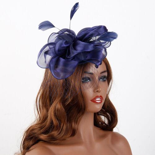 Damen Feather Satin Net Hut Stirnband Fascinator Hochzeitstag Race Royal Ascot