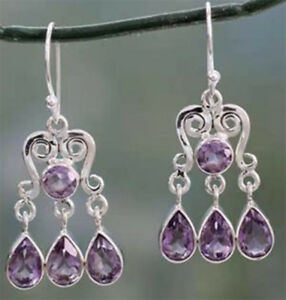 Vintage-Women-Amethyst-Gemstone-Engagement-Wedding-Earrings-925-Silver-Jewelry
