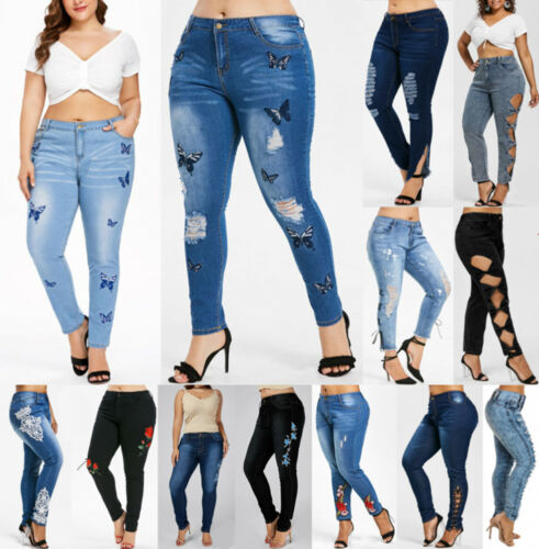 Plus Size Women/'S Skinny Distressed Denim Jeans Ripped Jeggings Pants Trousers