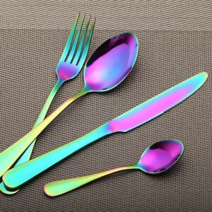 Rainbow-Colorful-S-S-Dinnerware-Black-Cutlery-Fork-Spoon-Teaspoon-Flatware-Newly