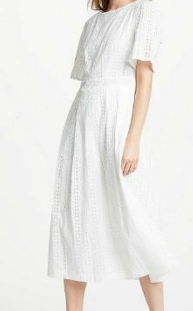 Great Plains Betsey Broderie Dress Optic White Size 8 XS - BNWT WITH ZIP DEFECT