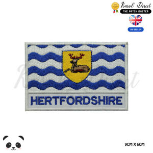 HERTFORDSHIRE-England-County-Flag-With-Name-Embroidered-Iron-On-Sew-On-Patch