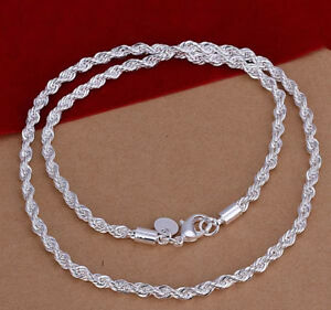 925-Sterling-Silver-Women-039-s-Elegant-Rope-Chain-24-034-Link-Necklace-FreePouch-D157