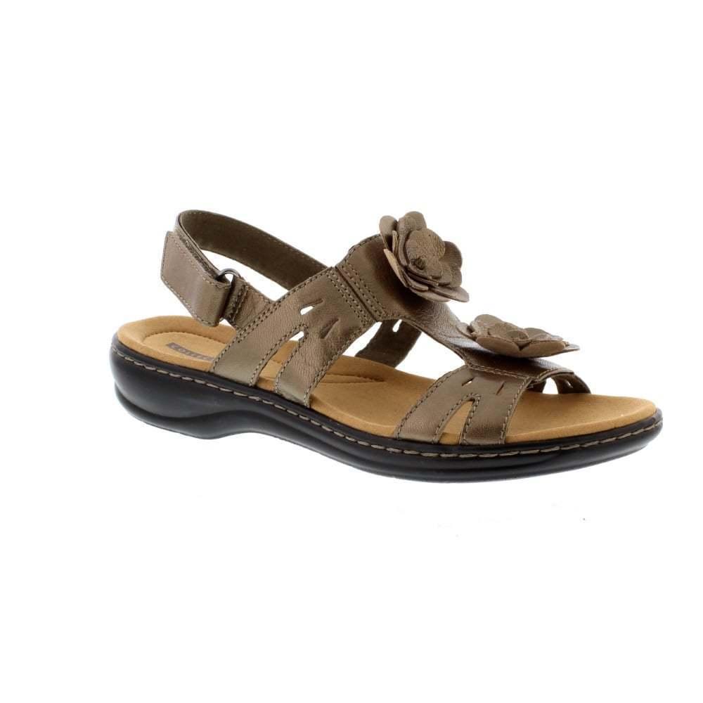 Clarks damen Leisa Claytin Pewter Leather T Bar Floral Trim Slingback Sandals