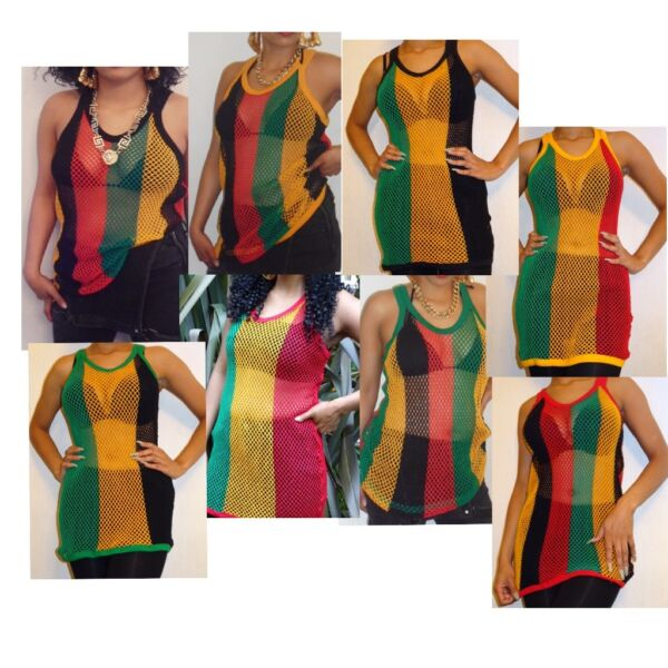 22087c46f0 Long Black Green Yellow Red Rasta string vest net top 8 10 12 14 16 18 ...