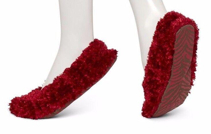 HUE Women's Deep Red Feathery Lightweight Shue Slipper Socks U15939