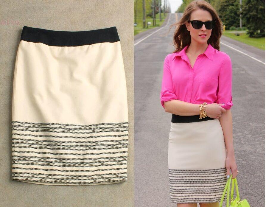 New J Crew Horizon Stripe Cotton Pencil Skirt Ivory White 6 8 10  138