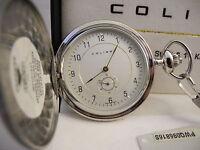 Colibri Stainless Steel Pocket Watch W/14k Accent W/chain, Lower Price