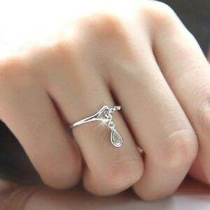 Fashion-Women-039-s-925-Silver-White-Sapphire-Waterdrop-Chain-Ring-Wedding-Jewelry