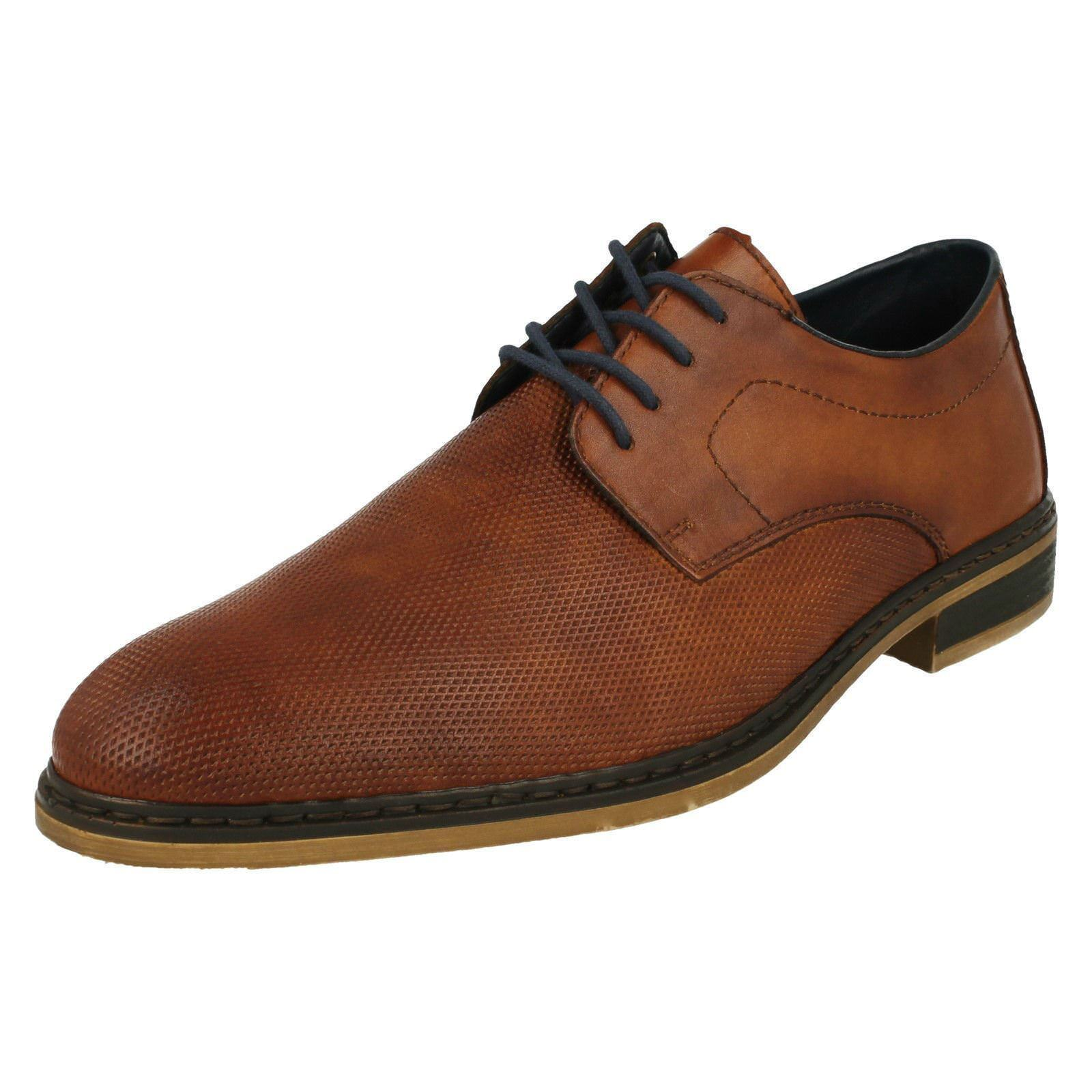 Herren Rieker 11415 Braun Leder Lace Up Schuhes 223814