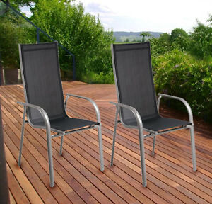 2er set gartenstuhl stapelstuhl stapelsessel hochlehner alu terrasse cf740 ebay. Black Bedroom Furniture Sets. Home Design Ideas