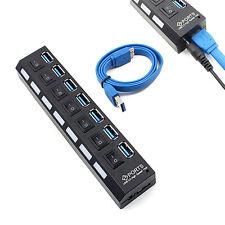 USB HUB 3.0 7 Ports Splitter mit Ein /Aus Schalter für Computer Peripheriegeräte