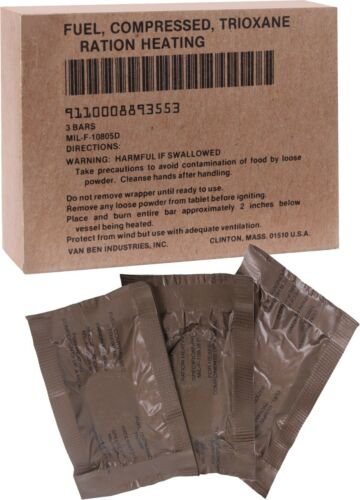 GI US Made Trioxane Fuel Tablets Compressed Ration Heating Bars Military Army