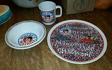 Vintage Where's Waldo child's plate cup bowl 1991