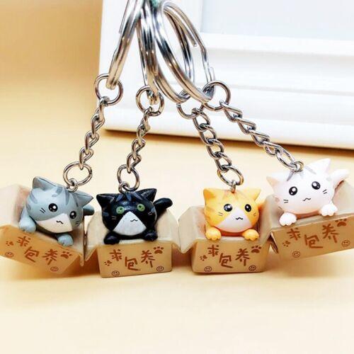 1 Stück Cartoon Kiste Katze Schlüsselanhänger Schlüsselring Plastik Trend