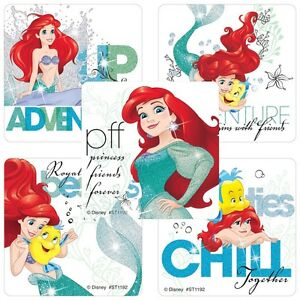 The-Little-Mermaid-Stickers-x-5-Birthday-Party-Ariel-Stickers-Glitter-NEW