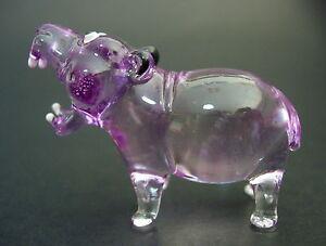 Glass-HIPPOPOTAMUS-Water-HIPPO-Purple-Glass-Ornament-Tinted-Glass-Animal-Gift