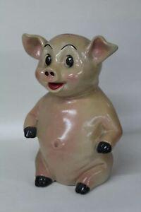 Decorative-Vintage-Pig-Money-Box-Caricature-1950-039-s-Collectable-11-034-Ornament