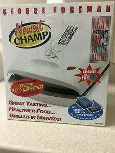 """George Foreman Nonstick Electric Grill White GR11WSP3 """"Newest Champ"""" BRAND NEW"""
