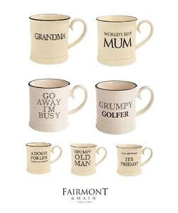 Fairmont & Main Quips and Quotes Tankard Mug, Cream and Black, 10x Designs