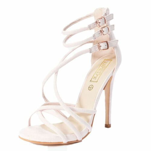 Nude Pink suedette high slim heel strappy shoes sandals