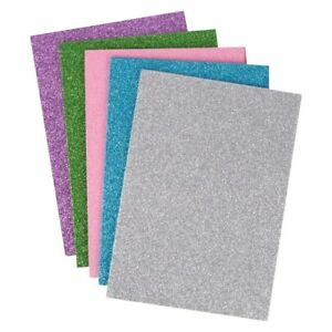 A5 Coloured Glitter Foam Fabric Sheets 5 Colours Art Crafts Home FREE SHIPPING