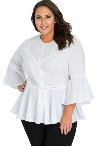 Womens Plus Size Solid Peplum Tops Fit Flare Bell Sleeve Blouse O Neck Dip Hem