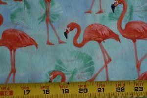 22-034-Long-Orange-Flamingos-on-Green-Quilt-Cotton-Kaufman-Lynnea-Washburn-N2993