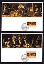 1985 Liechtenstein Maxi 1er TWO Postcards Music Year Apollo & The Muses Musician