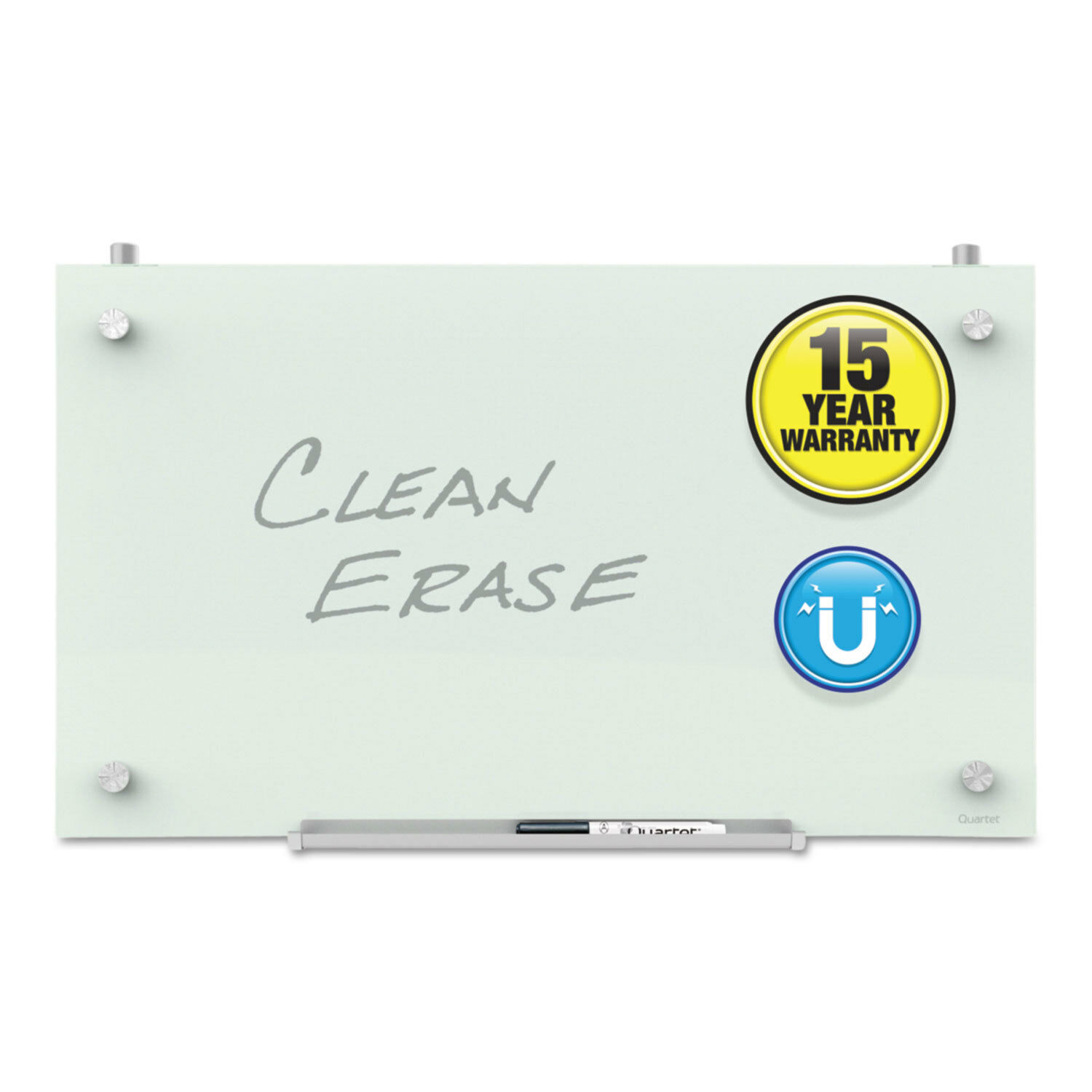 Quartet Infinity Magnetic Glass Dry Erase Cubicle Board, 18 x 30, White PDEC1830