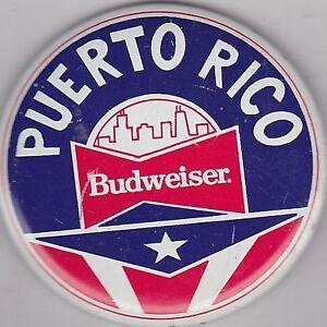 """VINTAGE 3"""" PINBACK #31-071 - BEER - BUDWEISER - PUERTO RICO"""