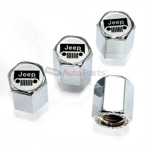 (4) Jeep Argento Logo Cromo Abs Pneumatico / Ruota Aria Stelo Tappi Valvola Abbiamo Vinto L'Elogio Dai Clienti