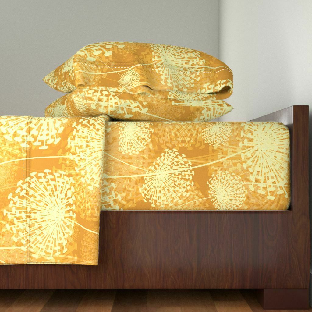 Gelb Dandelion Flowers Gold Orange 100% Cotton Sateen Sheet Set by Roostery