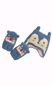 Girls NEXT Hat And Mittens Mitts Set Size 3-9 Months 1-2 Years