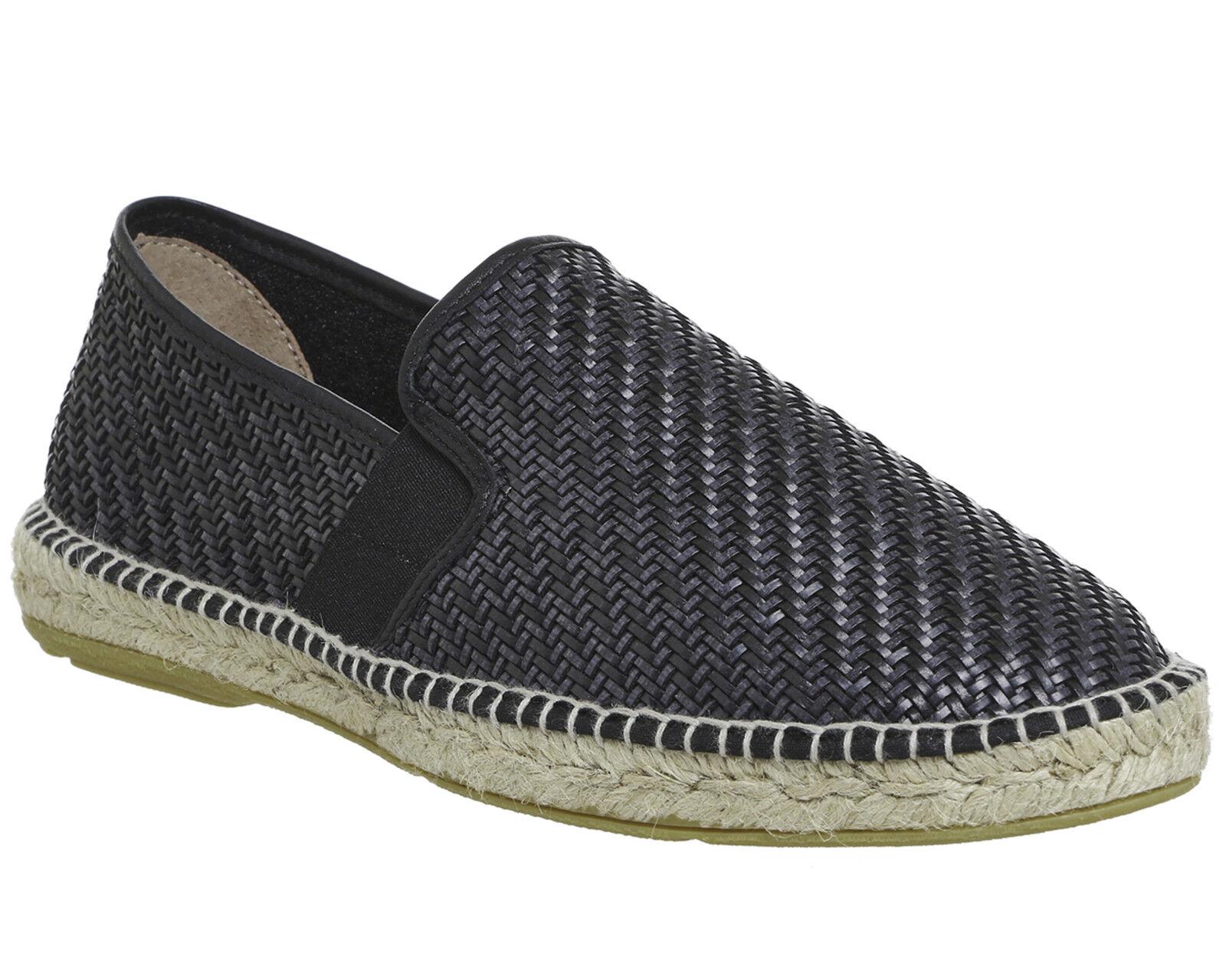 Homme poste Felice Espadrilles Noir Tissé Chaussures De Loisirs