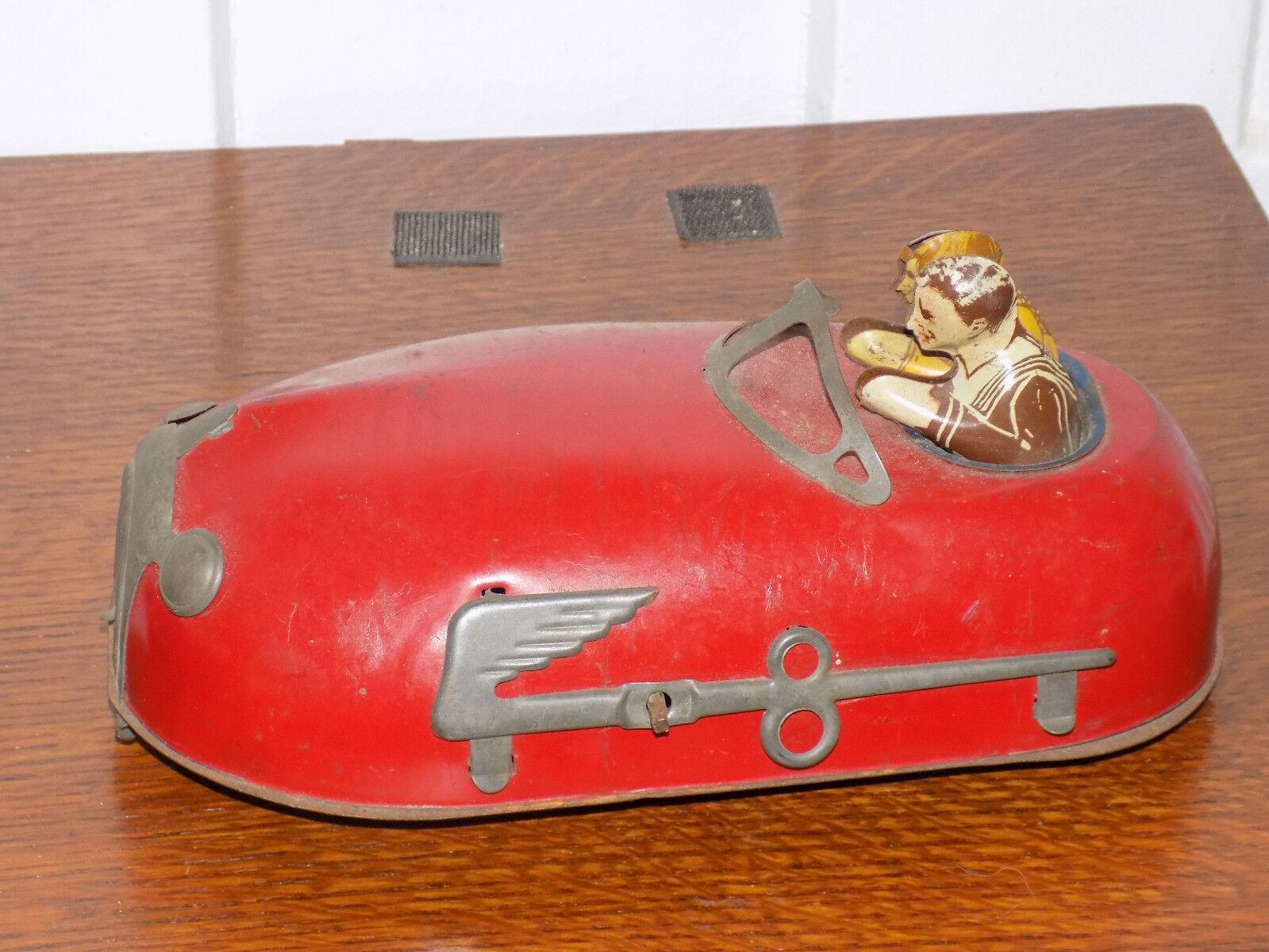 Vintage década de 1930 Lindstrom Skeeter Bug Doodlebug Estaño Wind-Up coche de parachoques pre Primera Guerra Mundial