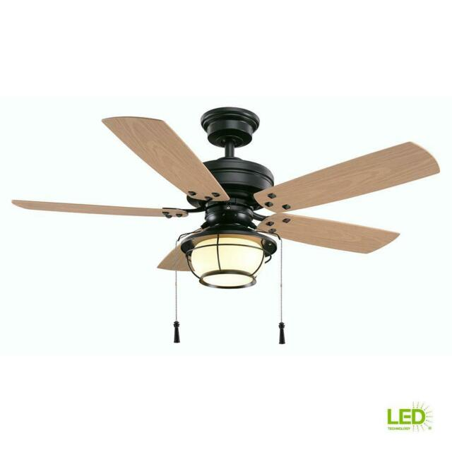 Hampton Bay 46 In Led Indoor Outdoor Natural Iron Ceiling Fan With Light Kit For Sale Online Ebay