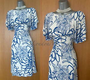 Karen-Millen-UK-12-Blue-White-Print-Jersey-Kimono-Sleeves-Formal-Casual-Dress-40