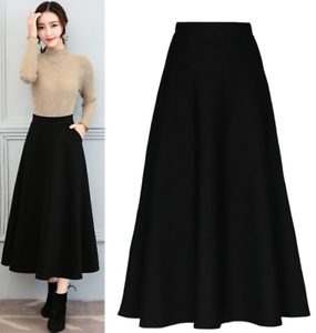 Image Is Loading Womens High Waist Cotton Blend Maxi Skirt Slim