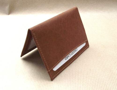vs933 Triumph logo Brown Leather credit card size wallet ID holder licence