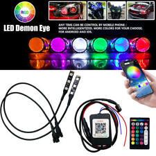 Demon Eyes Headlights Halo Ring Bluetooth Remote Rgb Led Retrofit Projector Len Fits Mustang