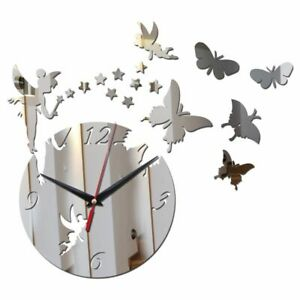 Mirror-Acrylic-Wall-Clock-Home-Decoration-Butterfly-Fairy-Designed-3D-Quartz-New