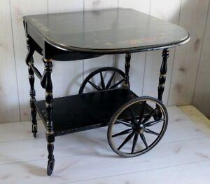 Details About Antique Vintage Wood Tea Cart Wagon Wheel Dual Drop Leaf Black Tole Painted