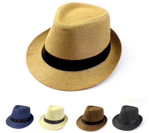 Hat Men Panama Gambler Woven Straw Fedora Porkpie Vent Air Summer