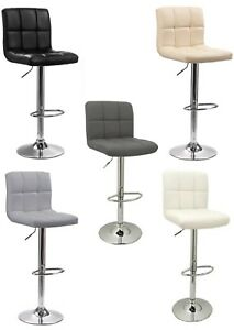 2x-Cuban-Chrome-Base-amp-Gas-Lift-Swivel-Faux-Leather-Kitchen-Breakfast-Bar-Stool