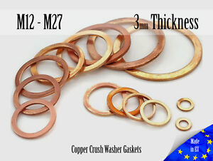 M12-M27-Thick-3mm-Metric-Copper-Flat-Ring-Oil-Drain-Plug-Crush-Washer-Gaskets