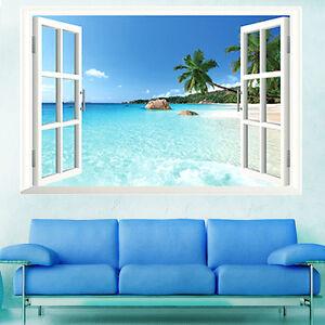 Adesivi murali da parete decorazionni 3d oceano spiaggia for Adesivi murali 3d