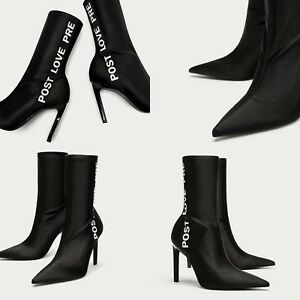 cd20e52fdfc Details about ZARA NEW SATIN ANKLE BOOTS WITH SLOGAN 3101/301