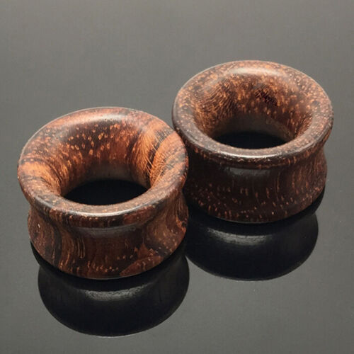 1Pair Brown Natural Wood Saddle Ear Plugs Hollow Piercing Fresh Tunnels OC